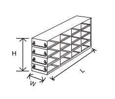 4x4 Drawer Freezer Rack for 2 inch boxes