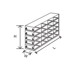 4x5 drawer freezer rack, upright, for 2 inch boxes