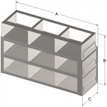 "9-Box Capacity Upright Drawer Rack for Standard 3"" High Boxes"