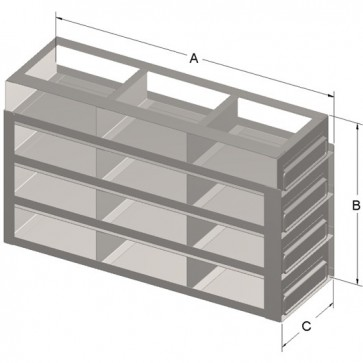 """12-Box Capacity Upright Drawer Rack for Standard 2"""" High Boxes"""