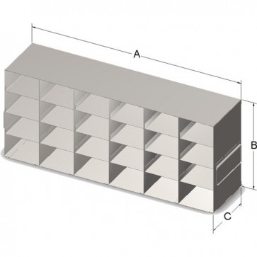 """22.13"""" Long, 9.25"""" High Upright Rack  for 96 Deep-Well Microtube Plastic Storage Boxes"""