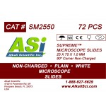 ASI Supreme™ Plain Surface Non-Charged Microscope Slides, with Frosted white writing area