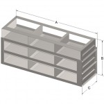 "9-Box Capacity Upright Drawer Rack for Standard 2"" High Boxes"